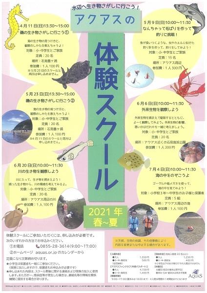 【要申込】2021年春~夏・アクアスの体験スクール