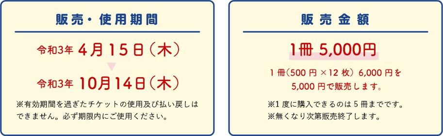 使用期間令和3年 4月15日(木)令和3年 10月14日(木)